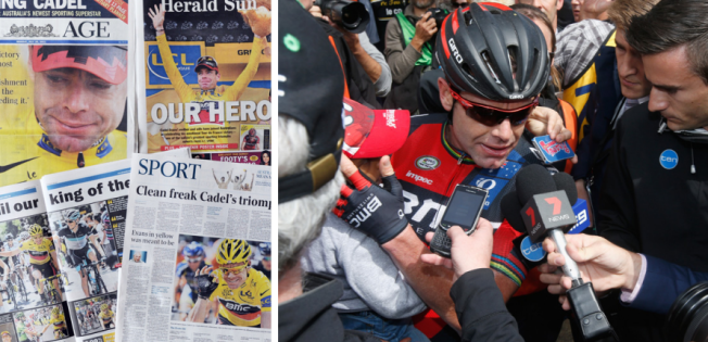 Cadel mobbed by the media