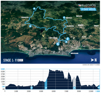 Velothon Sunshine Coast Stage 1 route map and profile.